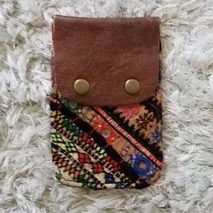 Tapestry & Leather Card Holder